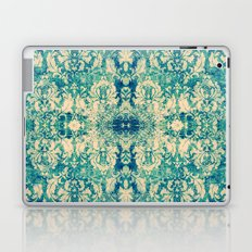 Vintage Blue Turquoise Floral Damask Pattern Laptop & iPad Skin