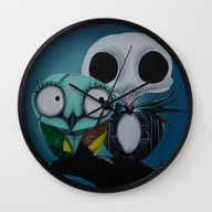 Wall Clock featuring The Owl Jack And Sally by Annelies202