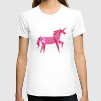 Origami Unicorn Womens Fitted Tee White SMALL