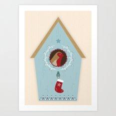 Blue Bird House Art Print