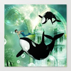 Orca with mermaid Canvas Print