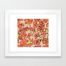 Red Floral Framed Art Print