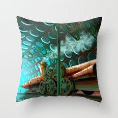 Steam Train Punk Throw Pillow