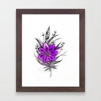Purple Flower Feather Framed Art Print