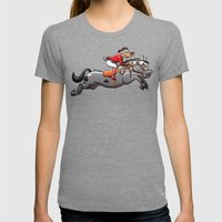 Olympic Equestrian Jumping Dog Womens Fitted Tee Tri-Grey SMALL