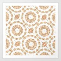 Citrine Mandala Tile Art Print