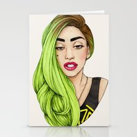 lady gaga Stationery Cards featuring Lady Neon by Helen Green
