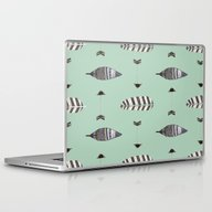 Laptop & iPad Skin featuring Feather Arrow Blue by ALLY COXON