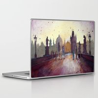 Laptop & iPad Skin featuring Prague, watercolor explorations in violet  by Jane-Beata