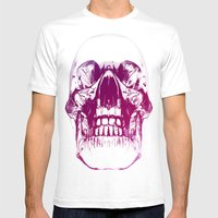 Purple Crystal Skull Mens Fitted Tee White SMALL