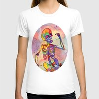 Rainbow Skeleton Womens Fitted Tee White SMALL
