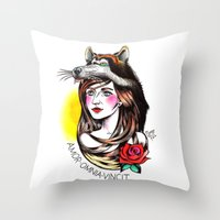 Chica Lobo Throw Pillow