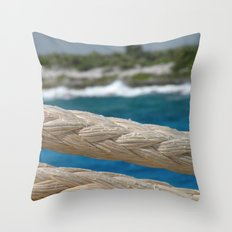 Rope by the sea Throw Pillow