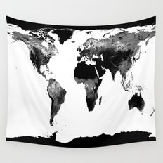 World Map  Black & White Wall Tapestry