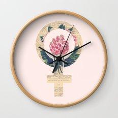 Respect, equality, women's liberation. Feminism Power Fist / Raised Fist Wall Clock