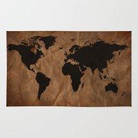 Old Wrinkled World Map Rug