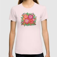 Orange Fantasy Flowers Womens Fitted Tee Light Pink SMALL