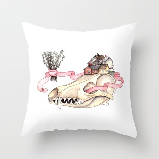 Tiny Homes of Pine on Bone Throw Pillow