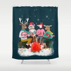 Fireside Christmas by Andrea Lauren  Shower Curtain
