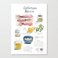 illustrated recipes: calamari ripieni Canvas Print
