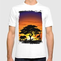 Wild Animals on African Savanna Sunset  Mens Fitted Tee White SMALL