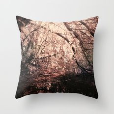 Light reflected in black water Throw Pillow