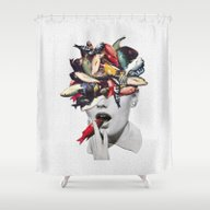 Shower Curtain featuring Ωmega-3 by Eugenia Loli