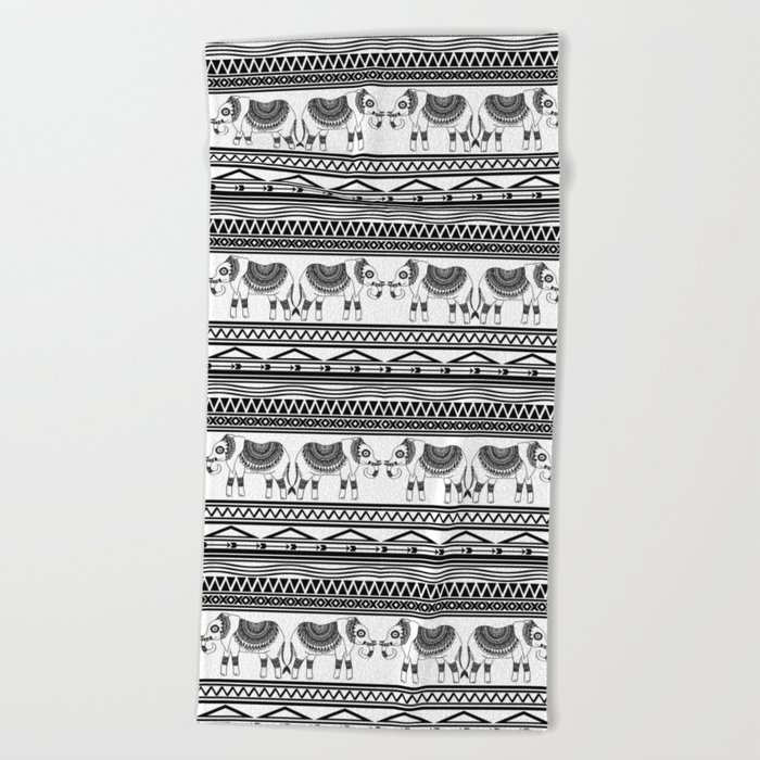 black and white tribal elephant pattern beach towel