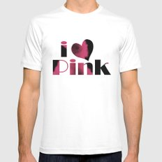Dusky Pink Mens Fitted Tee SMALL White