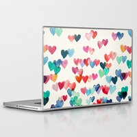 watercolor Laptop & iPad Skins featuring Heart Connections - watercolor painting by micklyn