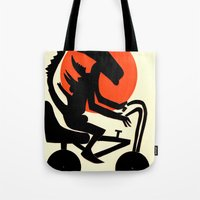 alien on a chopper Tote Bag