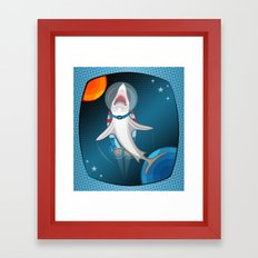 Shark In Space Framed Art Print