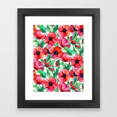 Plenty of Poppies - white Framed Art Print