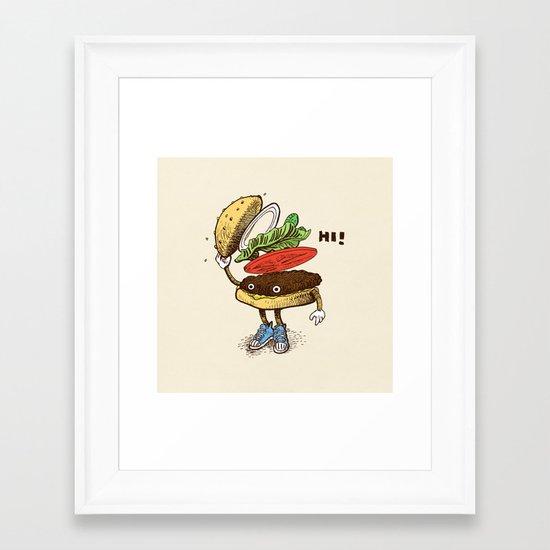 Burger Greeting Framed Art Print