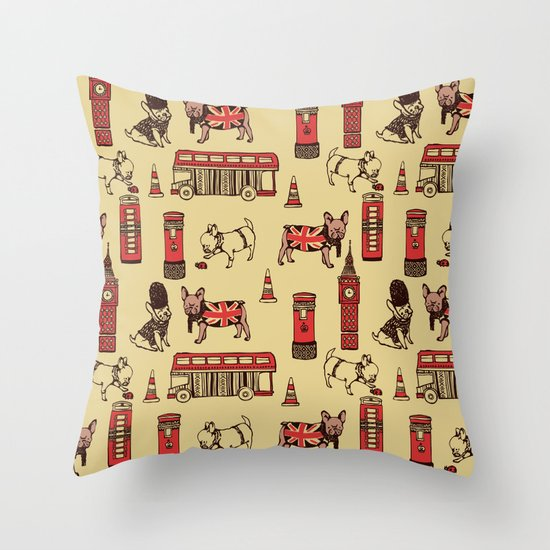 London Frenchies Throw Pillow