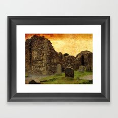 🔵 Ancient Irish Graveyard Ruins Framed Art Print