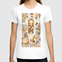 white T-shirts featuring The Queen of Pentacles by Teagan White