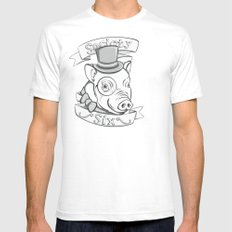 Gentleman Pig (S6 Tee) Black & Gray Mens Fitted Tee SMALL White