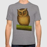 Mountain Scops Owl Mens Fitted Tee Tri-Grey SMALL