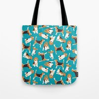beagle scatter blue Tote Bag