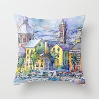 Pegli dal mare Throw Pillow