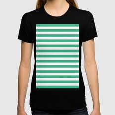 Horizontal Stripes (Mint/White) Womens Fitted Tee Black SMALL