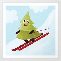 Happy Pine Tree On Ski Art Print