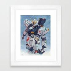 Nu Gundam watercolor Framed Art Print