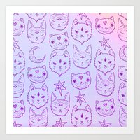 Kitty Mystics in Pink Art Print