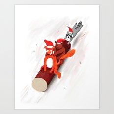 Christmas fox, bear and raccoon Art Print