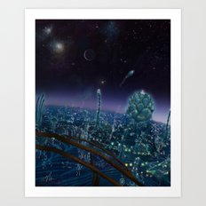 Living On Antaries - Vertical Cityscape Art Print