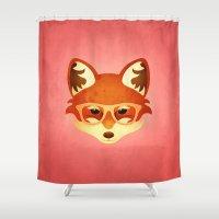 Hipster Fox: Rose Shower Curtain