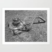 Old Lawn Mover Art Print