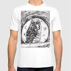 Night Owl v.1 White Mens Fitted Tee SMALL